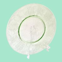 Floral Poinsettia Green Depression Glass Luncheon Plate by Jeannette