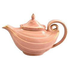 Hall Aladdin 6-Cup pink gold-decorated Teapot with infuser