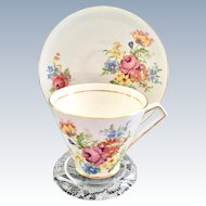 Clare Bone China Longton, England #596 Floral Teacup and Saucer