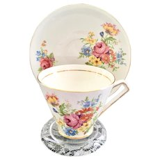 Clare Bone China Longton, England #596 Floral Teacup and Saucer