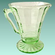 Hocking Block Optic Tall Green Depression Glass Creamer