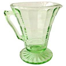 Hocking Block Optic Tall Green Depression Glass Creamer