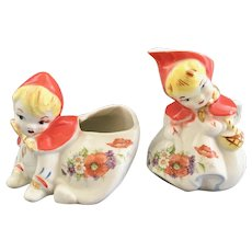 Hull Little Red Riding Hood Crawling Sugar and Tab Handled Creamer