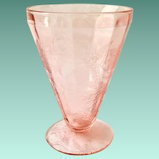 Floral Poinsettia Pink Depression Glass 7-Ounce Footed Water Tumbler by Jeannette