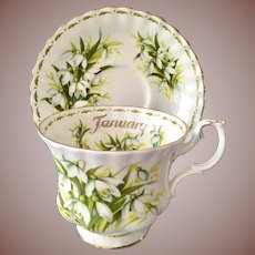 Royal Albert Bone China January Flower of the Month Snowdrops Teacup and Saucer