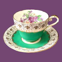 Aynsley Gold Fleur-De-Lis C958 Green Bone China Violets Teacup and Saucer