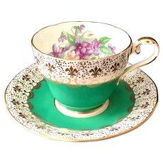 Aynsley Gold Fleur-De-Lis C958 Green Bone China Violets Teacup and Saucer