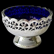 Metal Filigree Sherbet Cobalt Blue Glass Liner Celtic Quality Plate Made in England