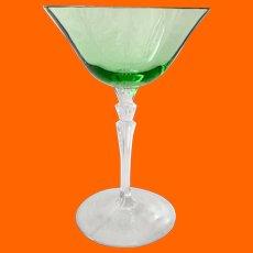 Fostoria Glass Waterfall Stem #5099 Elegant Green Tall Sherbets