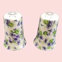 Lefton China Violet Chintz Salt and Pepper Shakers c. 1950s