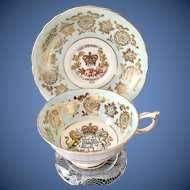 Paragon Bone China Blue and Gold Filigree Teacup and Saucer Commemorative Saint Lawrence Seaway 1959