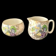 Lord Nelson Ware England Pompadour Crinoline Ladies Gold Chintz Sugar and Creamer