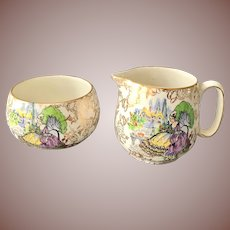 Lord Nelson Ware England Pompadour Crinoline Ladies Gold Chintz Sugar and Creamer