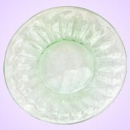 Floral Poinsettia Green Depression Glass Sherbet Plates by Jeannette Set of Four