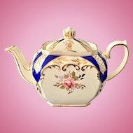 Sadler Cube Teapot 2898 Cobalt Blue and Gold Trim England