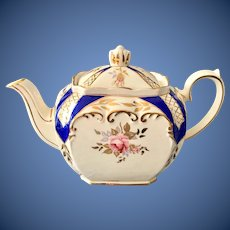 Sadler Cube Teapot 2898 Cobalt Blue and Gold Trim England
