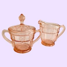 Doric Pink Depression Glass Covered Sugar and Creamer by Jeannette Glass