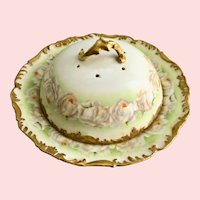 Covered Pancake Dish T&V Limoges France Hand Painted Porcelain White Roses circa late 1800s