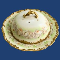 Exquisite Covered Pancake Dish T&V Limoges Porcelain Hand Painted with White Roses circa late 1800s