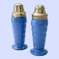 Moderntone Platonite Pair Pastel Blue Salt and Pepper Shakers Hazel Atlas Glass