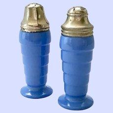 Moderntone Platonite Pair Pastel Blue Salt and Pepper Shakers Hazel Atlas Glass