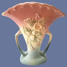 Hull Pottery USA WildFlower Pink and Blue W-15 Two-Handled Fan Vase