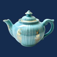 Turquoise Blue Pearl China Teapot Hand Decorated 22-Karat Gold Dalton Shape
