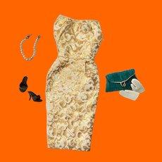 Barbie® Golden Girl #911 Brocade Sheath Dress Complete with Original Accessories c.1961