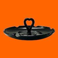 Greensburg/LE Smith Black Glass #81 Bonbon Candy Dish Heart-Shaped Center Handle
