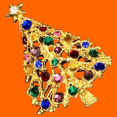 Openwork Colored Rhinestones Christmas Tree Pin by Silver Starrs