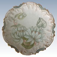Coiffe Limoges France Hand Painted Water Lily Plate