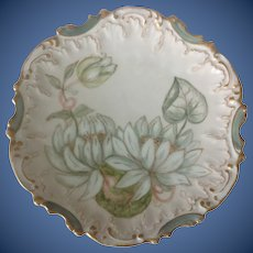 Hand Painted Signed Water Lily Plate Coiffe Limoges France Early 1900s