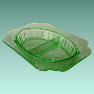 Jeannette Adam Green Depression Glass Divided Relish Dish