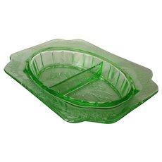 Jeannette Adam Green Depression Glass Divided Relish Dish