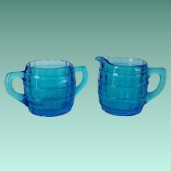 Indiana Glass Tiara Exclusives Electric Blue Barrel Cream and Sugar