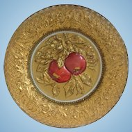 Red Apples on Gold Goofus Glass Intaglio Plate