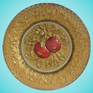 Goofus Glass Intaglio Plate Red Apples on Gold Early 1900s