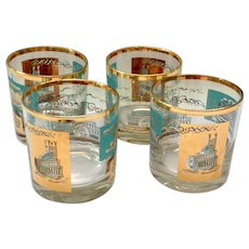 Libbey Southern Comfort Set of Four 22K Gold and Aqua Riverboat Rocks Glasses circa 1968