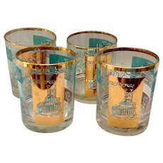 Libbey Southern Comfort Set of Four 22K Gold and Aqua Riverboat Double Rocks Glasses circa 1968