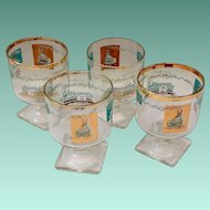 Libbey Southern Comfort Set of Four 22K Gold and Aqua Riverboat Stemmed Cocktail Square Foot circa 1968