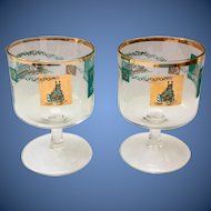 Gailstyn Glass 22KT Gold Mid-Century Martini Cocktail