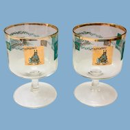 Libbey Southern Comfort Pair 22K Gold and Aqua Riverboat Stemmed Cocktails Round Foot circa 1968