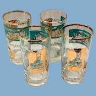 Libbey Southern Comfort Set of Four 22K Gold and Aqua Riverboat Highball Tumblers circa 1968