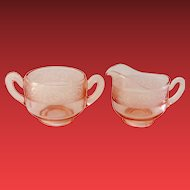 Cambridge Glass No. 703 Etch Florentine Pink Depression Era Sugar and Creamer