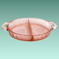 Jeannette Floral Poinsettia Pink Depression Glass Oval Divided Dish with Closed Handles
