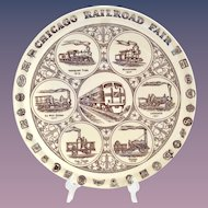 Vernon Kilns 1949 Chicago Railroad Fair Historical Plate made for Marshall Field
