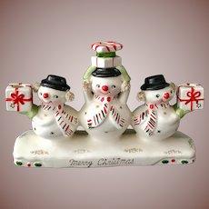 Holt Howard Christmas Snowmen Trio Candelabra Spaghetti Earmuffs Figurine