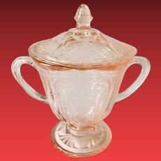 Royal Lace Pink Depression Glass Sugar and Cover Hazel Atlas
