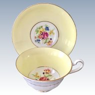 Rosina Bone China England Teacup and Saucer Yellow Band Floral Center