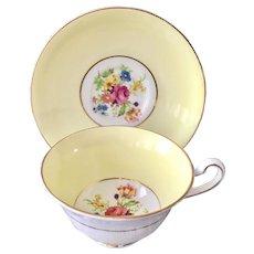 Rosina Bone China England Teacup and Saucer Yellow Band Floral Center